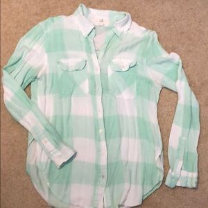 Green and white check flannel button down